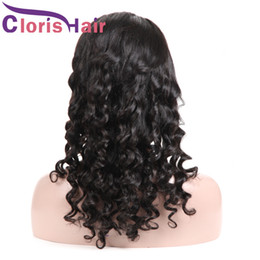 Discount braided lace wigs baby hair Bouncy Curly Lace Front Wigs Unprocessed Malaysian Loose Wave Human Hair Wig Pre Plucked With Baby Hair Long Braided African American Wigs