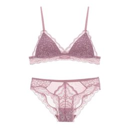61a8cad367 Small thin cotton cup sexy women lingerie French lace 70-85 ABC cup  bralette and panties young girls wire free sleep underwear