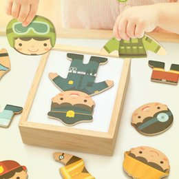 $enCountryForm.capitalKeyWord Australia - Profession Suit Changing Clothes Set Kids Puzzle Educational Wooden Toys For Children Q190530
