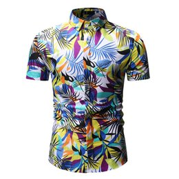 0aa8b0ed26 Summer Beach Men's Casual Shirts Cotton Polyester Floral Print Turn-down Short  Sleeves Holiday Vacation Male Dress Shirts YS27