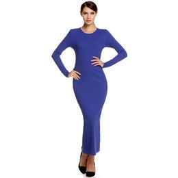 Long Sleeve Full Length Dresses UK - Fashion Stylish Ladies Women Casual Long Sleeve Maxi Full Length Bodycon Solid Dress Fashion Stylish Ladies Dress