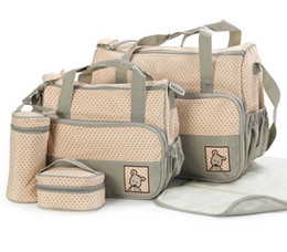 $enCountryForm.capitalKeyWord Australia - 39*28.5*17CM 5pcs Baby Diaper Bag Suits For Mom Baby Bottle Holder Mother Mummy Stroller Maternity Nappy Bags Sets