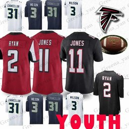 d3bad814a YOUTH Christmas Seattle Jerseys Seahawk Russell 3 Wilson Kam 31 Chancellor  Atlanta Falcon Matt 2 Ryan Julio 11 Jones Jersey