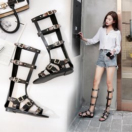 $enCountryForm.capitalKeyWord Australia - Roman brand snakeskin rivets woman summer boots sandals studs 6 buckles gladiator sandals woman open toe t-strap sandalias mujer