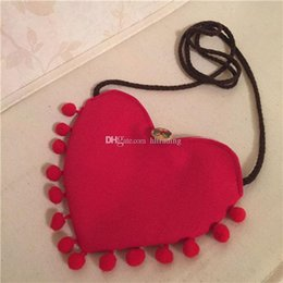 Heart Shaped Handbags Wholesale Australia - Baby Girls Heart Shaped tassel Messenger Bag Cartoon Cute Kids Mini Pompom Shoulder bag Boutique Coin Purse Handbag C5907