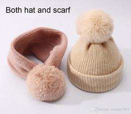 $enCountryForm.capitalKeyWord Australia - Children Winter Wool Cotton Hats Girls Real rabbit Fur Pompom Hat Kids girls Caps Beanies Hats Skullies Baby both hat and scarf