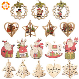 Christmas Ornament Crafts Silver NZ - Multi Style Creative Wood Craft Christmas Wooden Pendants Ornaments Kids Gift DIY Xmas Tree Ornament Christmas Party Decorations