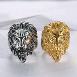 Men Size 15 Rings Australia - New Fashion Gold and Silver Colors Classic Men's Punk Style Hip Hop Ring Lion Head males man Finger rings for men women Size 7-15