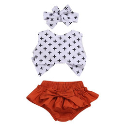 short hair pieces styles NZ - kids clothing 2019 baby Summer Wave point fashion T shirt+shorts+Hair baby girl clothes 3 piece Set kids designer clothes girls BY0826