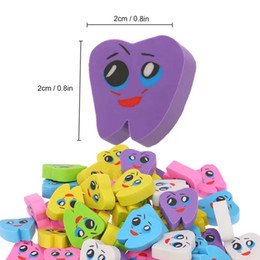 tooth shape dental 2021 - 20pcs bag Molar Shaped Tooth Rubber Erasers Dentist Dental Clinic School Great Gift For Kids