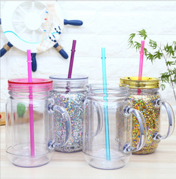 stock handle Australia - 15oz Creative Sequins Plastic Water Bottle Summer Drinkware Mason Jar with Handle Juice Cup with Lid and Straw