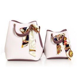 Soft Silk Scarf blue online shopping - Women Korean Fashion Shoulder Bag Fashion Pu Leather Bucket Hand Bags Simple Silk Scarves Bow Slung Crossbody Messenger Handbag