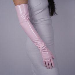 $enCountryForm.capitalKeyWord Australia - Fashion Lady Patent Leather Long Gloves Extra Long Elbow PU Simulation Leather Bright Mirror Light Pink 60cm T09