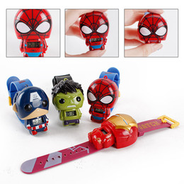 Wholesale Kids Avengers watches New Children Superhero cartoon movie Captain America Iron Man Spiderman Hulk Watch toys action figures J001