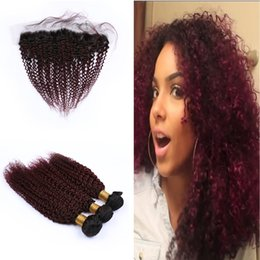 $enCountryForm.capitalKeyWord Australia - Ombre Color 1b 99j 3Bundles With Lace Frontal Dark Roots Wine Red Ear To Ear Frontal With Deep Curly Hair Extension
