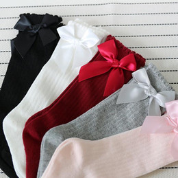 new baby girls designs dress Canada - New design Kids Socks Toddlers Girls Big Bow Knee High Long Soft Cotton Lace baby Socks