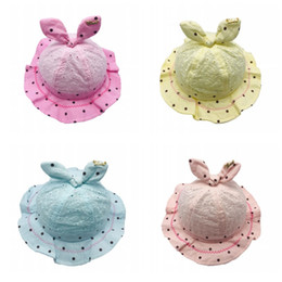 62c6fa36c92030 Kids Bucket Hat Caps Baby Girls Boys Breathable Embroidery Hollow Out Rabbit  Ears Dot Sun Hat Topee Beanie Caps Accessories Q194