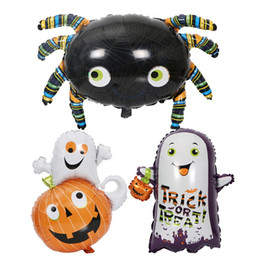 metallic balloons 2021 - Funny Black Spider Metallic Balloons Ghost Lighting Aluminum Foil Party Balloon For Halloween Decoration New Pattern 2hy