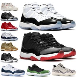 basketball shoes 11 grey Australia - 11 Mens 11s Basketball Shoes New Concord 45 Platinum Tint Heiress Black Gym Red cap and gown Designer Sneakers Men Sport Shoes