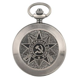$enCountryForm.capitalKeyWord Australia - Retro Communist Sign Pocket Watch for Men Durable Alloy Chain Pendant Watch Fashion Large White Dial Quartz Pocket Watches for Women