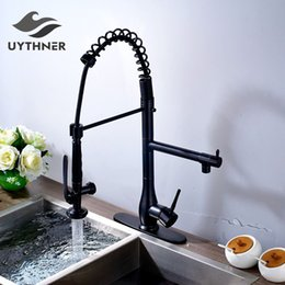 Oil Rubbed Brass Kitchen Faucet Australia - Uythner Superior Quality Heighten Solid Brass Oil Rubbed Bronze Kitchen Faucet Mixer Tap Sharp Handle + Round Cover Plate