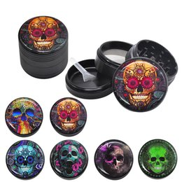 spice grinders Australia - Skull Series Metal Aluminum Alloy Smoking Herb Grinder 50MM 4 Parts Layers CNC Diamond Teeth Spice Tobacco Grinders Spice Crusher Miller