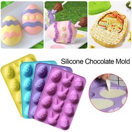 chocolate easter cakes UK - Easter Egg Silicone Mould Easter Egg Shaped Silicone Chocolate Mold Cake Chocolate Mold Random Color Delivery