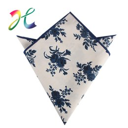 $enCountryForm.capitalKeyWord Australia - 2019 the high-quality designer new men's fashion cotton white blue flower pocket towel printing small square scarf custom factory outlet