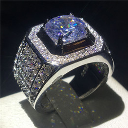 Big men diamond ring online shopping - choucong Luxury Male ring Big ct Diamond Sterling Silver Engagement Wedding Band rings For men Fine Jewelry