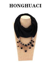 Cotton Rayon Scarf Australia - Foulard femme bandana chiffon hijab Handkerchief hair scarf Jewelry Necklace Resin Pendant Scarf Women Free Shipping