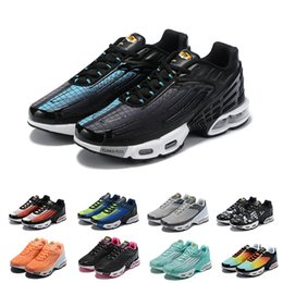 Discount spider shoes running High Quality Plus III 3 TN Mens desig TUNED Running Shoes Classic Outdoor tn Black White Sport Shock Sneakers Men requin