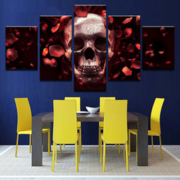 $enCountryForm.capitalKeyWord NZ - Canvas HD Prints Wall Art Modular Poster 5 Pieces Red Rose Petal Skull Photo Halloween Unframed Painting Living Room Decorative