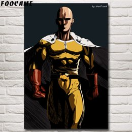 anime picture Australia - FOOCAME ONE PUNCH MAN Anime Posters and Prints Silk Decorative Pictures Art Wall Home Decor Bedroom Room Decoration Painting
