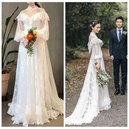 $enCountryForm.capitalKeyWord NZ - Graceful Lace A-Line Wedding Dresses High Neck Long Sleeve Back Bridal Dresses With Appliques Sweet Wedding Gowns robe de mariee