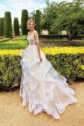 Wedding dress sleeve styles cap online shopping - Lovely Princess Style Layer Ruffles Tulle Wedding Dress Illusion Mesh Long Sleeve Lace Applique Bridal Gowns