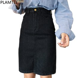 Womens Winter jeans online shopping - Plamtee Denim Women Vintage High Waist Jeans Skirt Split Sexy Pencil Autumn Winter Skirts Womens Kpop Skinny Saia C19041601