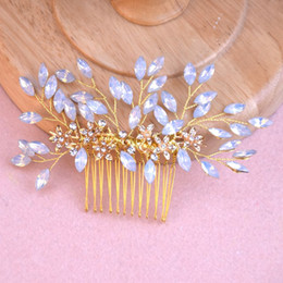 $enCountryForm.capitalKeyWord Australia - Wedding Prom Bridal Bride Rhinestone Flower Gold Comb Hair Accessories Party Prom Tiaras Headpiece Hair Clip Pins Jewelrys