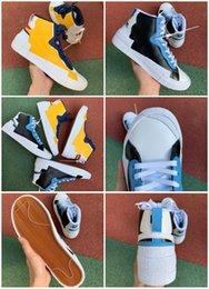 Genuine leather stockinGs online shopping - With stock x Hottest Authentic Blazer Mid High sacai White Black Legend Blue With The Dunk Snow Beach running Shoes BV0072