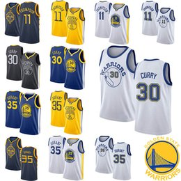 2a0682ea6781 2019 New Jerseys 11 Thompson Golden 30 Curry State 35 Durant Warriors White  Black Cool Breathable Jersey