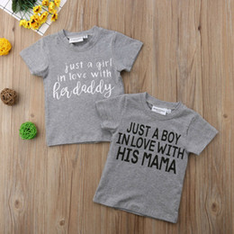 loved baby clothing Australia - Just A Boy Girl In Love With Daddy Mama Toddler Infant Kids Baby Girls Boys Letters Short Sleeve Tops T-shirt Blouse Tee Clothes
