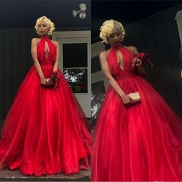 fd38be18a Petite fashion dresses online shopping - Sexy Backless Cheap Red Prom  Dresses A Line Halter Plus