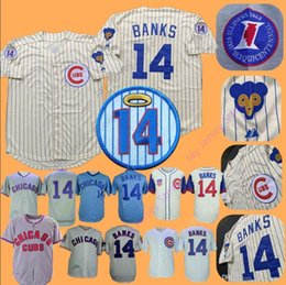 f2b8846f5 Chicago Ernie Banks Jersey 1968 1969 Cooperstown Baseball Cubs Jerseys  Cream Pinstripe Blue White Grey Men size M-3XL