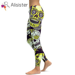 $enCountryForm.capitalKeyWord NZ - Hot Women's Flower Skull Leggings 3D Print Plus Size Work Out Leggings Pants Trousers Stretch Pants Leggins Femme