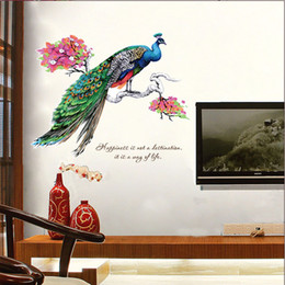 Design wall tree online shopping - Blue Peacock on Flower Tree Branches Wall Stickers Living Room Bedroom Kitchen Room Wall Decals Happiness Wall Quote Art Decor