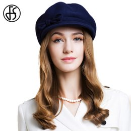 7539e164b7b FS Winter Women 100% Wool Berets Hat With Bowknot Elegant Lady Female Peaky  Blinder Hats Navy Felt Fedora Beret Femme Hiver 2019