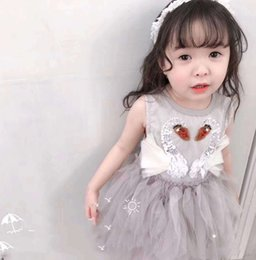 $enCountryForm.capitalKeyWord Australia - Girls lace tulle tutu dresses kids sequins beaded lace falbala swan embroidery vest princess dress summer children's day dance dress F7577
