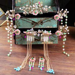 Coronet Hair Australia - Expensive Chinese Bride Headdress Pearls Tassel Hairpins Wedding Hair jewelry Elegant Flower Coronet Hair pins Comb Bridal Jewelry set