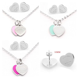 jewelry set heart silver Australia - Silver Color Titanium Stainless Steel Letter T Double Heart Earrings Necklace For Women Lady Fashion Love Wedding Brand Jewelry Set