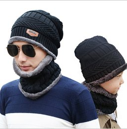 Christmas Gift Sets For Kids Australia - Beanie Hat Scarf Set Knit Hats Warm Thicken Fleece Winter Hat for Men Women Adult Kids Unisex Cotton Beanie Knitted Caps Christmas Gifts