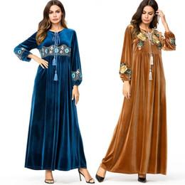 VelVet abaya online shopping - Vestidos Kaftan Abaya Dubai Arabic Velvet Embroidery Hijab Muslim Dress Women Robe Musulmane Longue Turkish Islamic Clothing XL